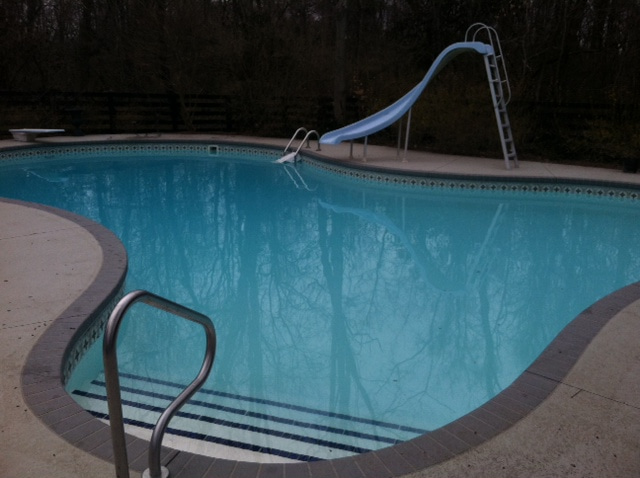 inground pool cleaning after photo