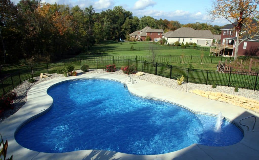 a free form in-ground pool